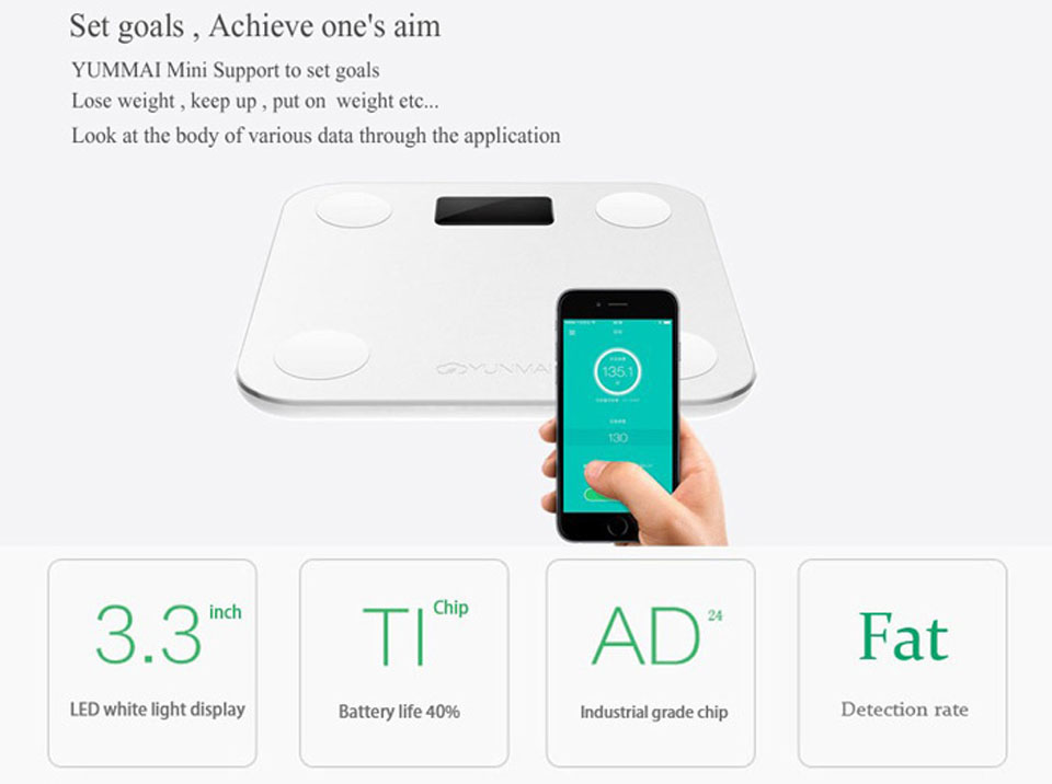 YUNMAI mini Smart Scale управление