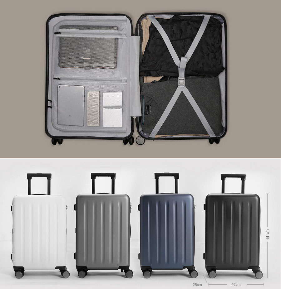 Чемодан Xiaomi 90 Points Suitcase Dark Grey Magic Night 28'' внутри