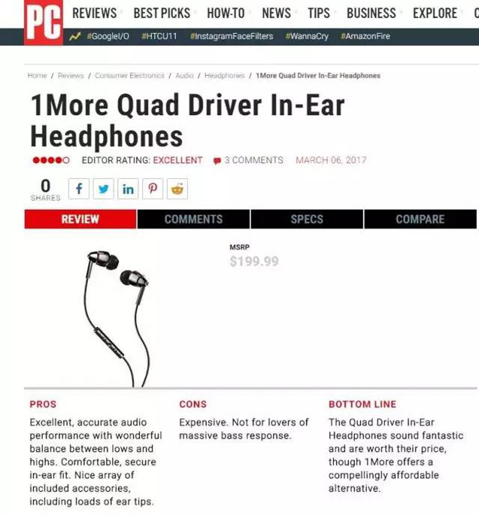 1MORE Quad Driver In-Ear Headphones статья