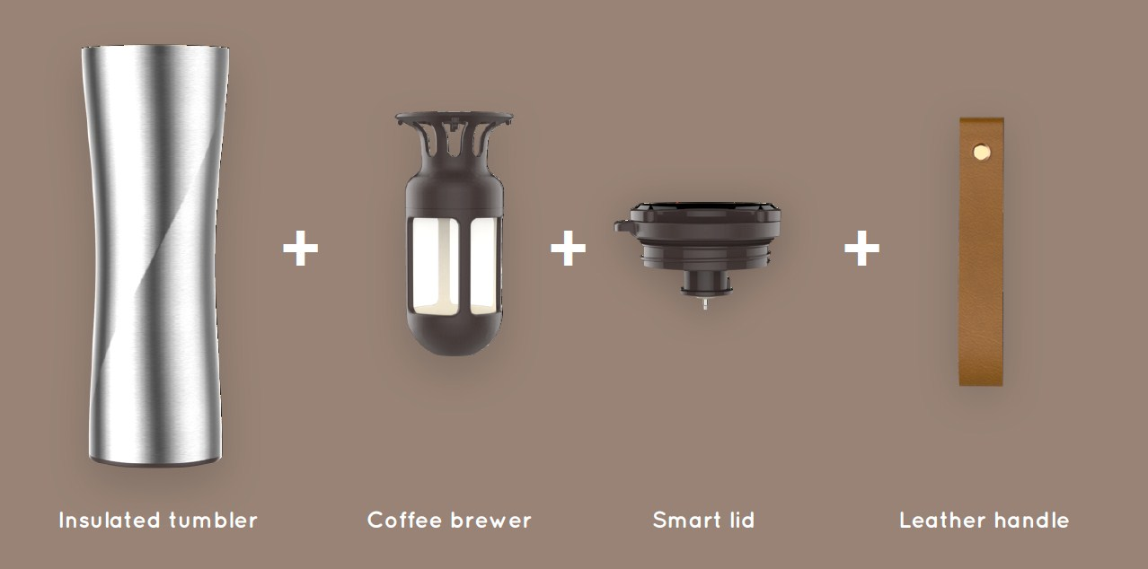 KissKissFish MOKA Smart Coffee Tumbler  конструкция