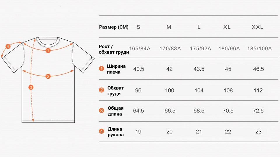 Футболка Mi sports function round neck short sleeve таблица размеров