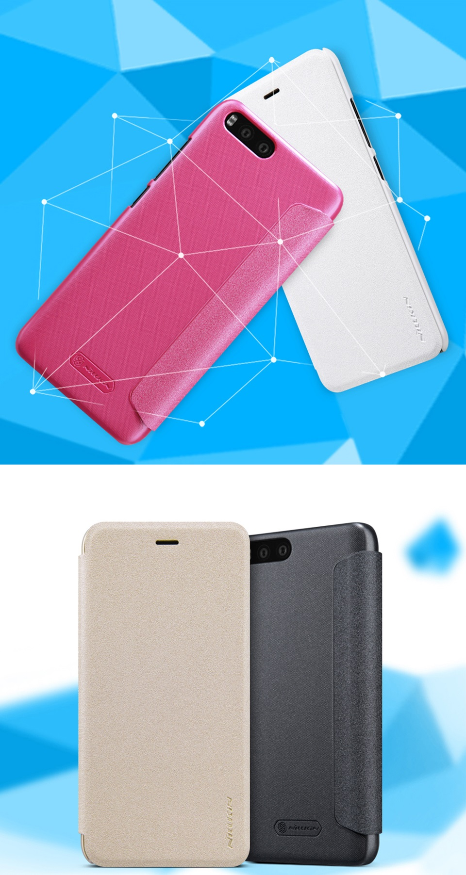 Чехол книжка Nillkin Sparkle Leather SP-LC XM для смартфонов Xiaomi Mi 6 цвета