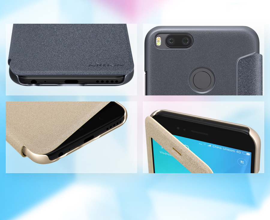 Чехол книжка Nillkin Sparkle Leather XIAOMI Mi 5X Gray SP-LC XM-5X вырезы