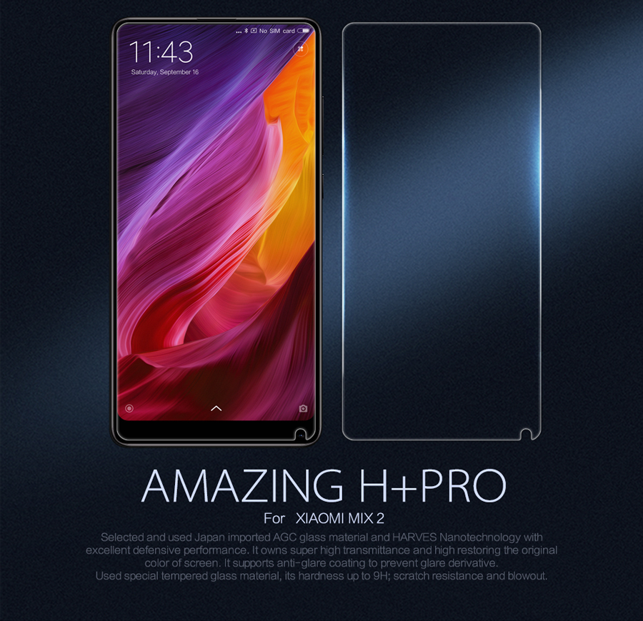 Закаленное стекло Nillkin for XIAOMI Mi MIX 2 H+PRO Anti-Explosion Glass H+PRO-SP XM-MIX 2 возле смартфона