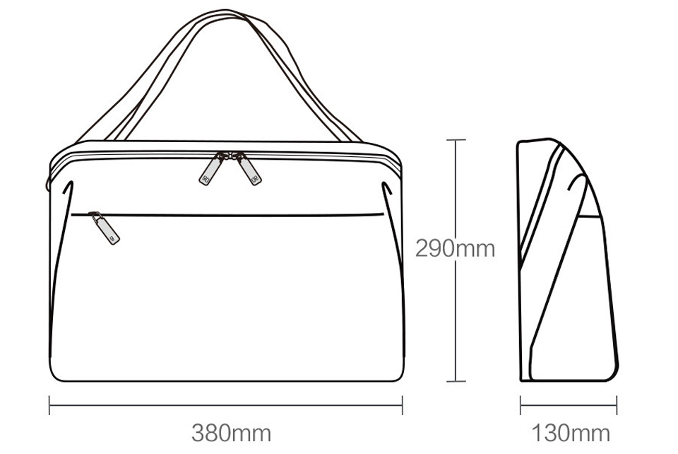 Cумка-почтальон RunMi 90GOFUN Urban Simple Mail Bag размеры