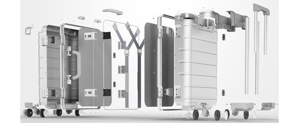 Чемодан RunMi 90 Points Metal Suitcase Business Travel Silver 20 дизайн