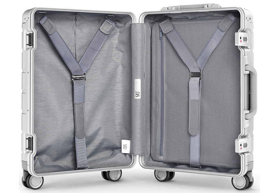 Чемодан RunMi 90 Points Metal Suitcase Business Travel Silver 20 внутреннее устройство