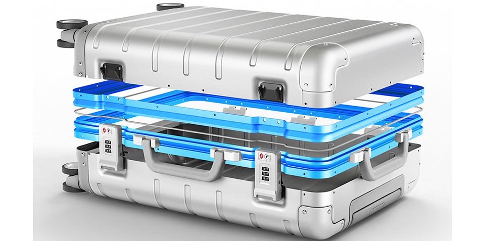 Чемодан RunMi 90 Points Metal Suitcase Business Travel Silver 20 алюминиевая рама