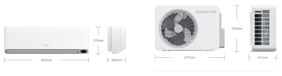 Кондиционер SmartMi Full DC Inverter Air Conditioner розміри