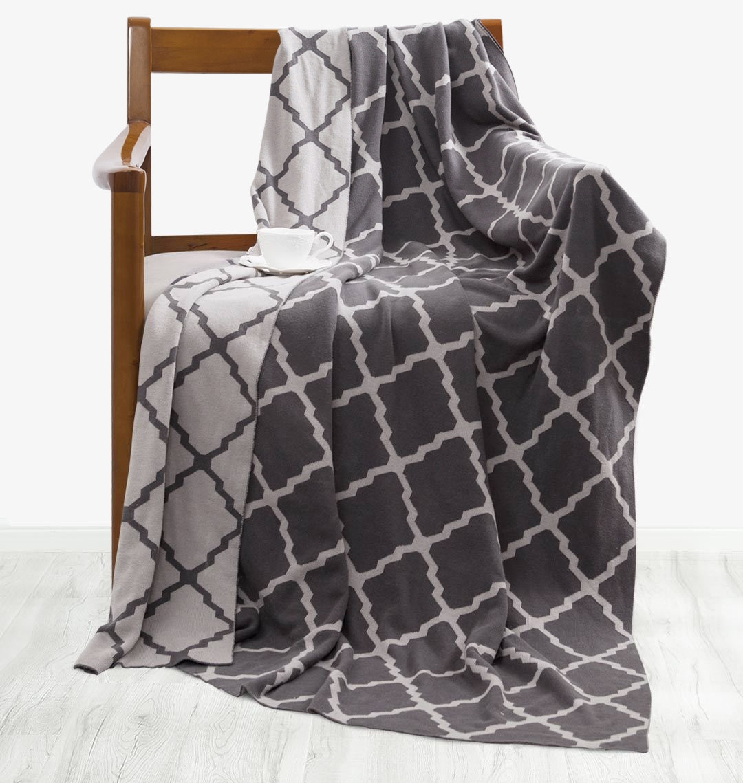Tonight-Combed-cotton-knit-blanket-Grey
