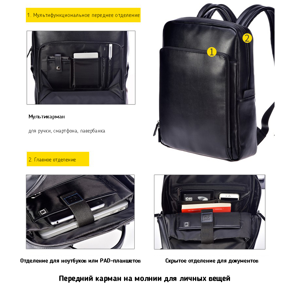 Рюкзак  Xiaomi 90 Points Business Backpack Black с гаджетами