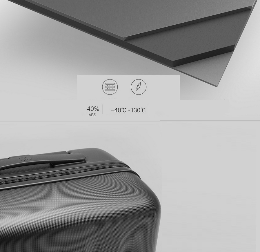 Чемодан Xiaomi 90 Points Suitcase Dark Grey Magic Night 28'' в дороге