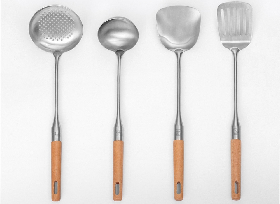 xiaomi-Yi-Wu-Yi-Shi-Beech-handle-stainless-steel-shovel-spoon-SET-4-pcs