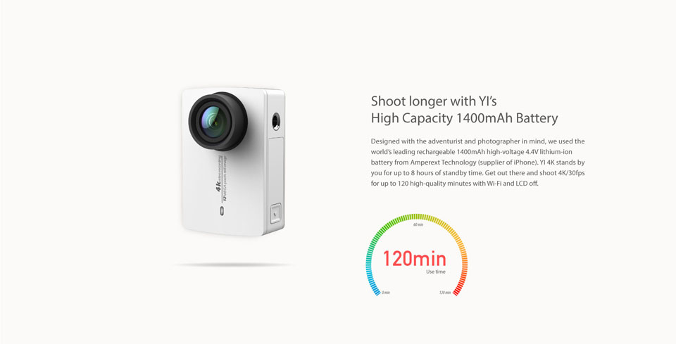 YI 4K Pearl White International Edition съемка 4К