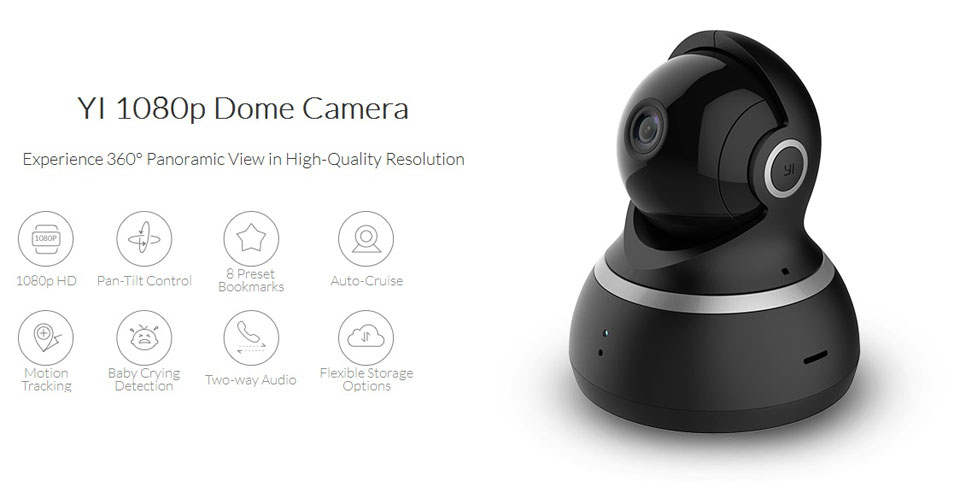 IP камера Xiaomi YI Dome 360° Black 1080P умная камера